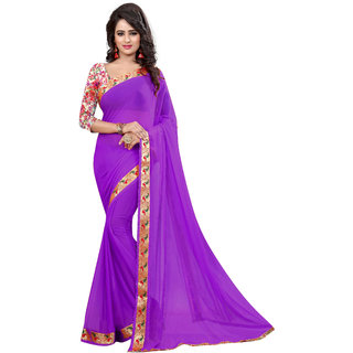 Women's Nazneen jacquard Purple Saree With Blouse