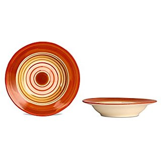 Soup Plate 7IN Ceramic/Stoneware in Orange and Beige Studio (Set of 2) Handmade By Caffeine