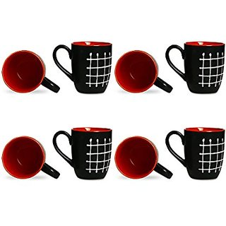 Coffee Mug Ceramic/Stoneware in Black amp Red Check (Set of 8) Handmade By Caffeine
