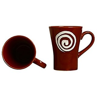 Coffee Mug Ceramic/Stoneware in Brown amp White Doodle Platform (Set of 2) Handmade By Caffeine