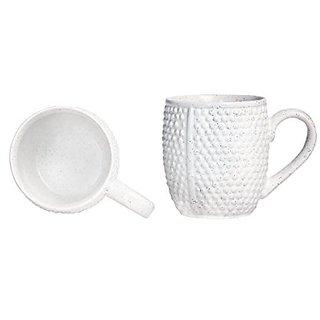 Coffee Mug Ceramic/Stoneware in White Bubble (Set of 2) Handmade By Caffeine