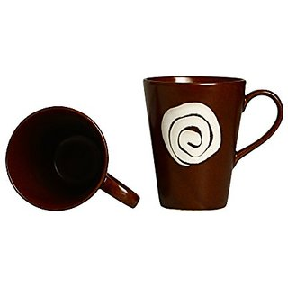 Coffee Mug Ceramic/Stoneware in Dark Brown amp White Doodle Classic (Set of 2) Handmade By Caffeine