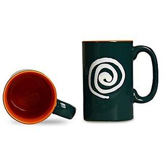 Coffee Mug Ceramic/Stoneware in Green amp Orange With White Doodle Regular (Set of 2) Handmade By Caffeine