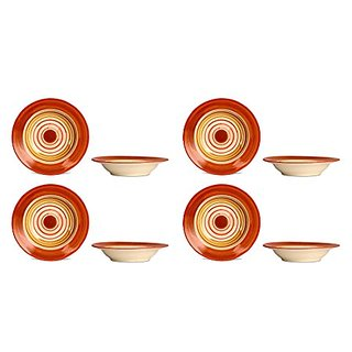 Soup Plate 7IN Ceramic/Stoneware in Orange and Beige Studio (Set of 8) Handmade By Caffeine