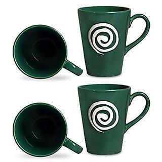 Coffee Mug Ceramic/Stoneware in Green amp White Doodle Classic (Set of 4) Handmade By Caffeine
