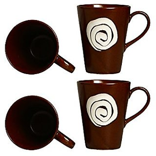 Coffee Mug Ceramic/Stoneware in Dark Brown amp White Doodle Classic (Set of 4) Handmade By Caffeine