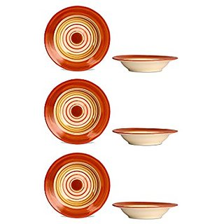 Soup Plate 7IN Ceramic/Stoneware in Orange and Beige Studio (Set of 6) Handmade By Caffeine