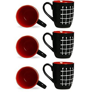 Coffee Mug Ceramic/Stoneware in Black amp Red Check (Set of 6) Handmade By Caffeine
