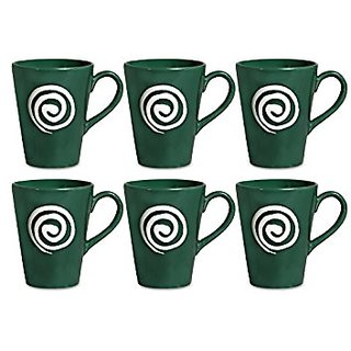 Coffee Mug Ceramic/Stoneware in Green amp White Doodle Classic (Set of 6) Handmade By Caffeine