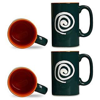 Coffee Mug Ceramic/Stoneware in Green amp Orange With White Doodle Regular (Set of 4) Handmade By Caffeine