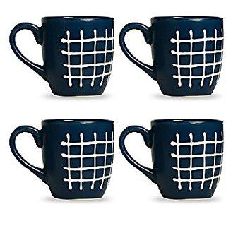 Coffee Mug Ceramic/Stoneware in Glossy Blue amp White Check (Set of 4) Handmade By Caffeine