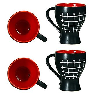 Coffee Mug Ceramic/Stoneware in Black amp Red Check Assorted (Set of 4) Handmade By Caffeine