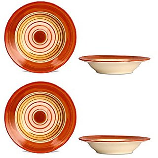 Soup Plate 7IN Ceramic/Stoneware in Orange and Beige Studio (Set of 4) Handmade By Caffeine