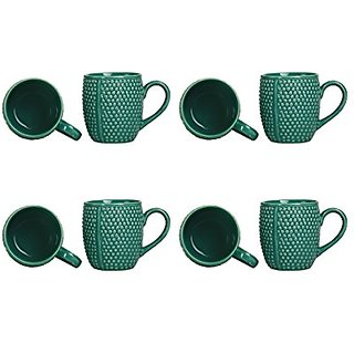 Coffee Mug Ceramic/Stoneware in Seagreen Bubble (Set of 8) Handmade By Caffeine