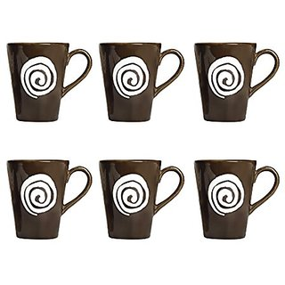 Coffee Mug Ceramic/Stoneware in Dark Brown amp White Doodle Classic (Set of 6) Handmade By Caffeine