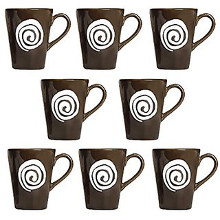 Coffee Mug Ceramic/Stoneware in Dark Brown amp White Doodle Classic (Set of 8) Handmade By Caffeine