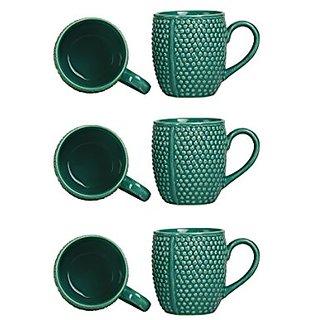 Coffee Mug Ceramic/Stoneware in Seagreen Bubble (Set of 6) Handmade By Caffeine