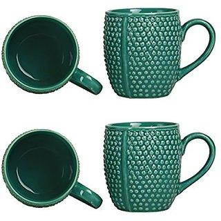 Coffee Mug Ceramic/Stoneware in Seagreen Bubble (Set of 4) Handmade By Caffeine