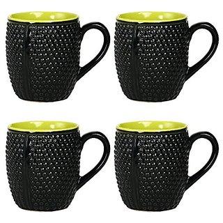 Coffee Mug Ceramic/Stoneware in Black Bubble amp Green (Set of 4) Handmade By Caffeine