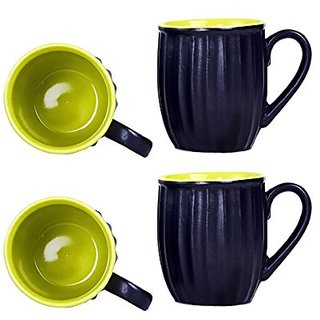 Coffee Mug Ceramic/Stoneware in Black amp Green Striped (Set of 4) Handmade By Caffeine