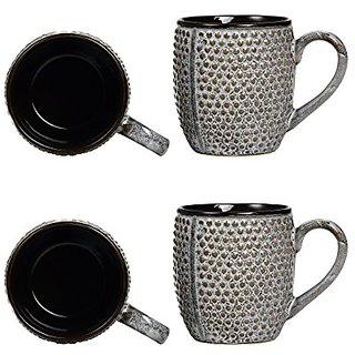 Coffee Mug Ceramic/Stoneware in Black amp Grey Bubble (Set of 4) Handmade By Caffeine