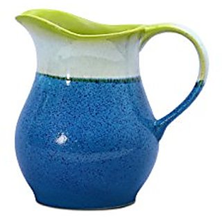 Water Jug/Pitcher Ceramic/Stoneware in Glossy Blue Base and Multicolor Studio (1pc) Handmade By Caffeine