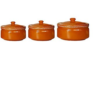 Serving Donga Casserole Ceramic/Stoneware in Brown Terracotta Combo (1 Large 1 Medium amp 1 Small) (Set of 3) Handmade By Caffeine