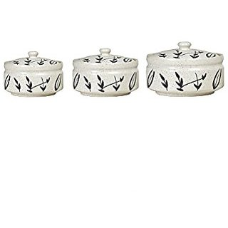 Serving Donga Casserole Ceramic/Stoneware in White and Black Bamboo Leaf Combo (1 Large 1 Medium amp 1 Small) (Set of 3) Handmade By Caffeine
