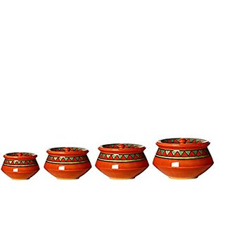 Serving Haandi Casserole Ceramic/Stoneware in Orange Triangle Combo (1 Large 1 Medium 1 Small 1 extra small) (Set of 4) Handmade By Caffeine