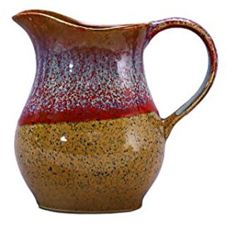 Water Jug/Pitcher Ceramic/Stoneware in Matte Brown and Multicolor Studio (1pc) Handmade By Caffeine