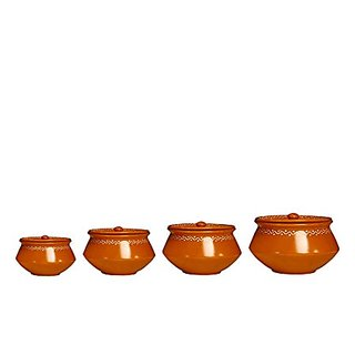 Serving Haandi Casserole Ceramic/Stoneware in Mud Brown Terracotta Combo (1 Large 1 Medium 1 Small 1 extra small) (Set of 4) Handmade By Caffeine