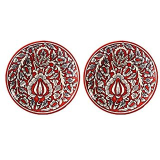 Quarter Plate 7IN Ceramic/Stoneware in Red Mughal (Set of 2) Handmade By Caffeine