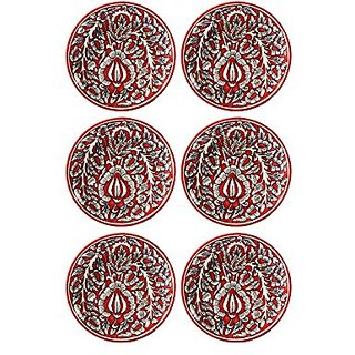 Quarter Plate 7IN Ceramic/Stoneware in Red Mughal (set of 6) Handmade By Caffeine