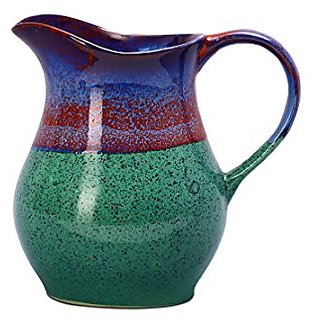 Water Jug/Pitcher Ceramic/Stoneware in Glossy Green Base and Multicolor Studio (1pc) Handmade By Caffeine