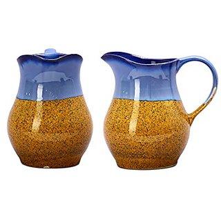Water Jug/Pitcher Ceramic/Stoneware in Glossy Blue and Mustard Studio (Set of 2) Handmade By Caffeine
