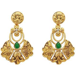 Kriaa by JewelMaze Zinc Alloy Gold Plated Green  White Austrian Stone Pota stone Dangle Earrings-AAA1171