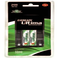 Eveready Ultima Rechargeable Nimh 2100 Mah 2 Pc Batteries With AA-AAA Charger For Camera