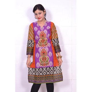 Trend-n-wow cotton Kurti orange& purple