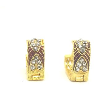 Studded and Enamelled Small light weight bali Jali earrings for girls/women by GoldNera