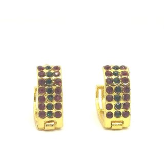 American Diamond Maroon colored Small light weight bali earrings for girls/women by GoldNera