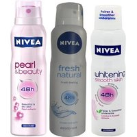 Nivea Pearl  Beauty, Fresh Natural, Whitening Smooth Skin Deo For Women Of 150ml Each