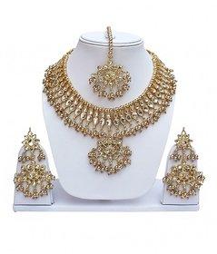 Golden Designer Kundan Partywear Necklace set With Mang tikka