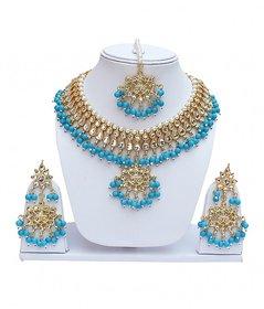 Ferozi Designer Kundan Partywear Necklace set With Mang tikka