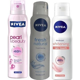 Nivea Pearl Beauty, Fresh Natural, Whitening Talc Touch Deo For Women Of (150ml,pack of 3)