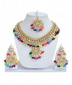 Multi Designer Kundan Partywear Necklace set With Mang tikka