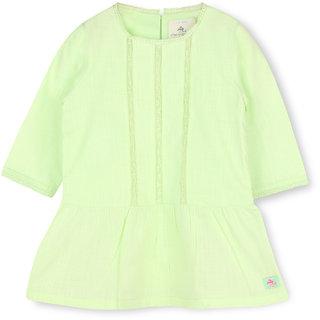 CHERRY CRUMBLE Soft Cotton Light Green Dress For Girl