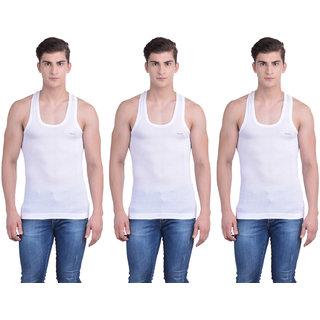 Dollar Bigboss White Plain Pack of 3 Vest for Men