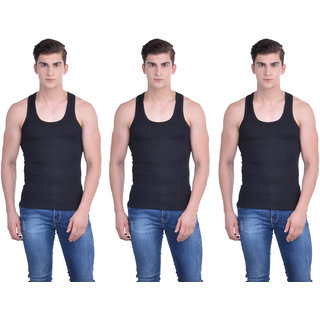 Dollar Bigboss Black Plain Pack of 3 Vest for Men