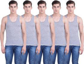 Dollar Bigboss Gray Plain Pack of 5 Vest for Men