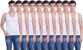 Dollar Bigboss White Plain Pack of 10 Vest for Men